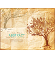 tree painted on old crumpled paper vector image vector image