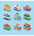 Vans with Food in Style an Isometric vector image vector image