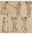 Vintage Golf and Golfers - Hand drawn freehands vector image vector image