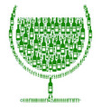 wine glass collage of wine bottles vector image