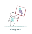 winegrower holds a banner with grapes vector image vector image