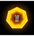 Yellow heptagon shape on dark background vector image vector image