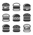 burger icons set vector image