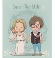 cute little wedding couple vector image