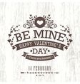 Valentine day card with floral vintage banner sign vector image