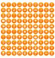 100 network icons set orange vector image vector image