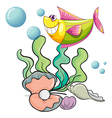 A smiling fish under the sea near the shells vector image vector image