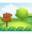 A wooden arrow board in the hill vector | Price: 1 Credit (USD $1)