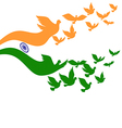 Abstract India flag with flying pigeon vector image vector image