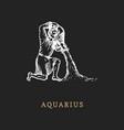 aquarius zodiac symbolhand drawn in engraving vector image