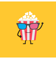 Big popcorn box face in 3D glasses Character with vector image vector image