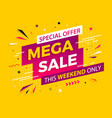 bright modern mega sale banner for advertising vector image vector image