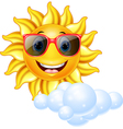 Cartoon smiling sun mascot vector image