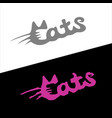 cats word stylish fashion logo with ears vector image