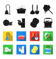 cleaning and maid blackflet icons in set vector image