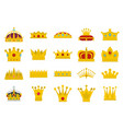 crown icon set flat style vector image vector image