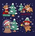 cute bull christmas tree gift bell vector image