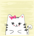 cute with sketch cat vector image vector image