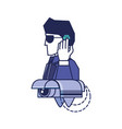 cyber security agent with cctv vector image vector image