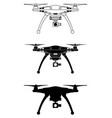 drone silhouette flying copter vector image vector image