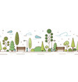 empty modern city park with trees bushes benches vector image vector image