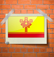 Flags Chuvashia scotch taped to a red brick wall vector image vector image