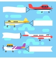 Flying airplanes and helicopters with blank vector image vector image