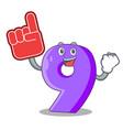 foam finger paper cut number nine letter mascot vector image