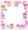 frame with funny colorful cats vector image
