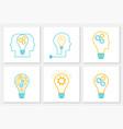 gear head lightbulb creative teamwork concept set vector image vector image