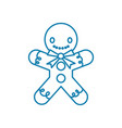 gingerbread man linear icon concept gingerbread vector image