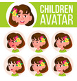 girl avatar set kid kindergarten face vector image
