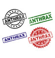 grunge textured anthrax stamp seals vector image vector image