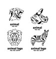 hand-drawn pencil graphics african animals set sy vector image