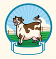 happy cartoon fat cow badge design vector image