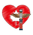 heart canadian flag with totem vector image vector image