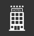 hotel icon isolated on black background simple vector image