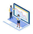 isometric office business people standing on huge vector image vector image