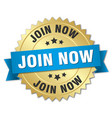 join now 3d gold badge with blue ribbon vector image vector image