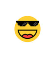 laughing emoji with pixelart glasses vector image vector image