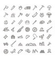 logging sawmill line icons instruments for vector image