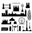 london city icon set england landmark silhouette vector image