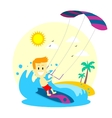 Man Enjoying Kitesurfing vector image