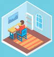 man student sitting at desk in room classroom vector image