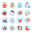 merry christmas and happy new year flat icon cute vector image