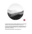 minimalistic landscape with mountains in circle on vector image vector image