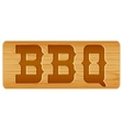 Nameplate of wood for menu with word BBQ vector image