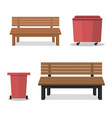 outdoor wooden benches with garbage canouter vector image vector image