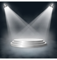 Pedestal with steps lit two lights in the fog vector image vector image