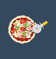 Pizza and pizza knife vector image vector image